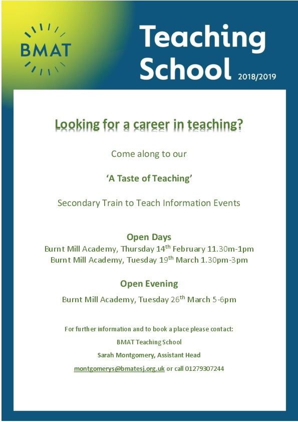 A Taste of Teaching Open events Secondary Feb March 2019 (1)