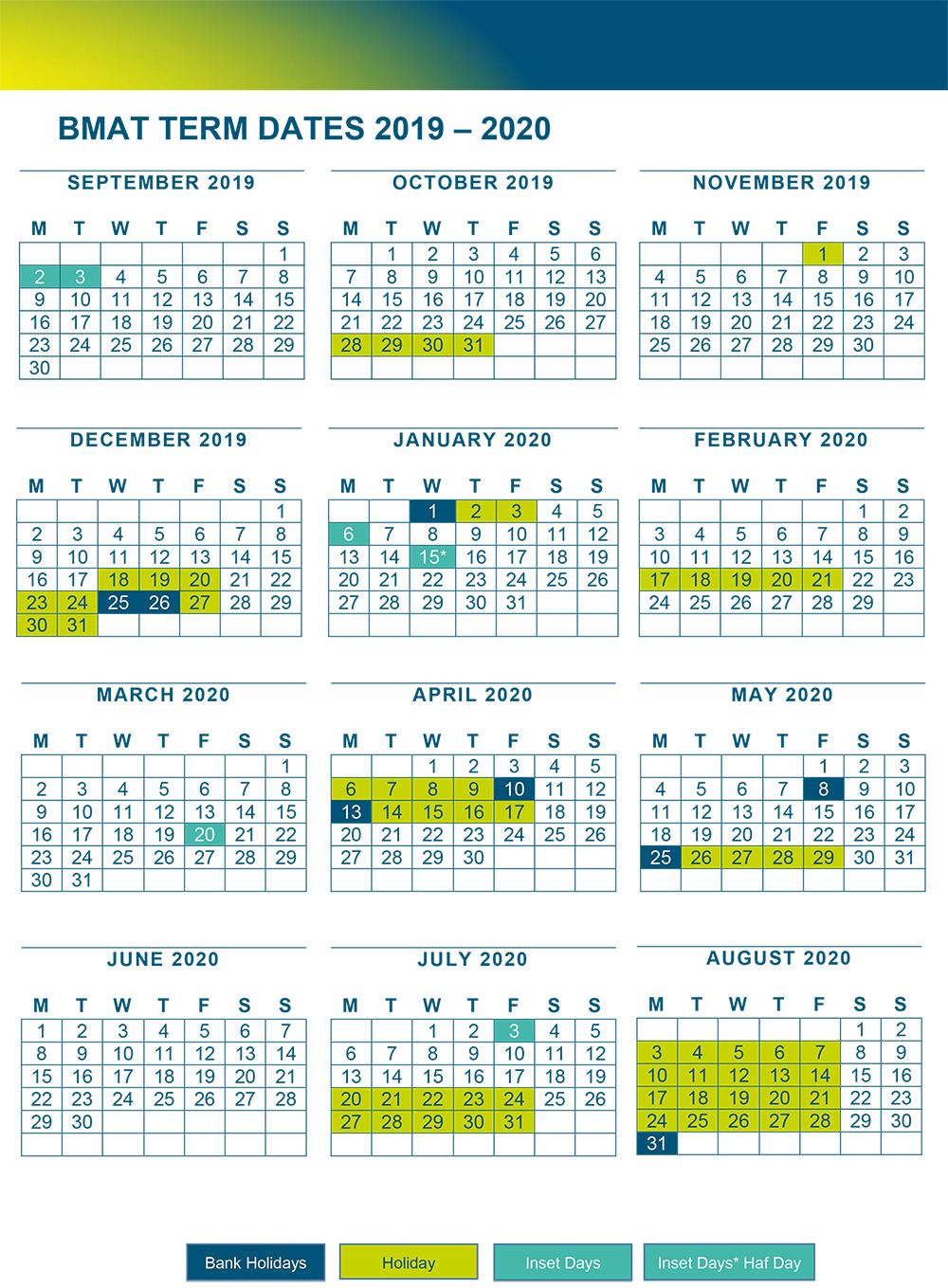 BMAT Term Dates 2019 2020