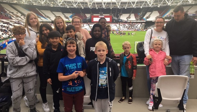 Young footballers experience professional match